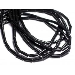 Fil 39cm 29pc env - Perles de Pierre Turquoise Synthèse Tubes 13x4mm Noir