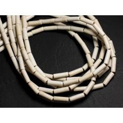 Fil 39cm 29pc env - Perles de Pierre Turquoise Synthèse Tubes 13x4mm Blanc crème