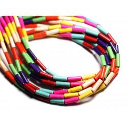Fil 39cm 29pc env - Perles de Pierre Turquoise Synthèse Tubes 13x4mm Multicolore