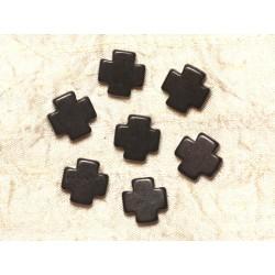 Fil 39cm 25pc env - Perles de Pierre Turquoise Synthèse Croix 15mm Noir