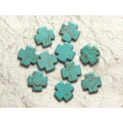 Fil 39cm 25pc env - Perles de Pierre Turquoise Synthèse Croix 15mm Bleu Turquoise