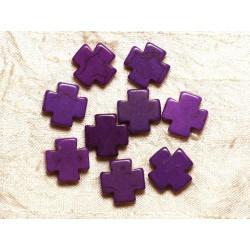 Fil 39cm 25pc env - Perles de Pierre Turquoise Synthèse Croix 15mm Violet