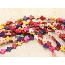 38pc environ - Fil 39cm Perles Turquoise synthèse Croix 10x8mm Multicolores