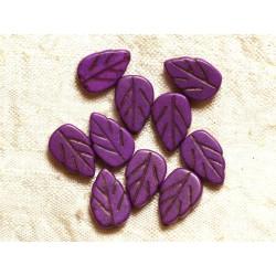 Fil 39cm 26pc env - Perles de Pierre Turquoise Synthèse Feuilles 14mm Violet