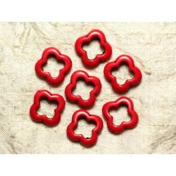 Fil 39cm 18pc env - Perles de Pierre Turquoise Synthèse Fleur Trèfle 4 feuilles 20mm Rouge