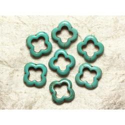Fil 39cm 18pc env - Perles de Pierre Turquoise Synthèse Fleur Trèfle 4 feuilles 20mm Bleu Turquoise