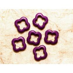 Fil 39cm 18pc env - Perles de Pierre Turquoise Synthèse Fleur Trèfle 4 feuilles 20mm Violet