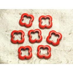 Fil 39cm 18pc env - Perles de Pierre Turquoise Synthèse Fleur Trèfle 4 feuilles 20mm Orange