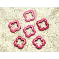 Fil 39cm 18pc env - Perles de Pierre Turquoise Synthèse Fleur Trèfle 4 feuilles 20mm Rose Fluo