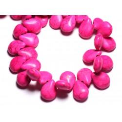 Fil 39cm 61pc env - Perles de Pierre Turquoise Synthèse Gouttes 16x12mm Rose Fluo