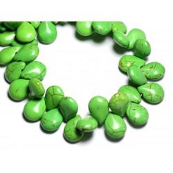 Fil 39cm 61pc env - Perles de Pierre Turquoise Synthèse Gouttes 16x12mm Vert
