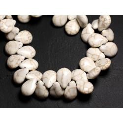 Fil 39cm 61pc env - Perles de Pierre Turquoise Synthèse Gouttes 16x12mm Blanc crème