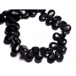 Fil 39cm 61pc env - Perles de Pierre Turquoise Synthèse Gouttes 16x12mm Noir