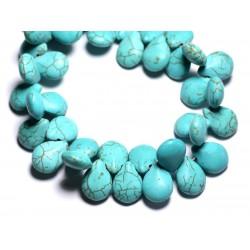 Fil 39cm 61pc env - Perles de Pierre Turquoise Synthèse Gouttes 16x12mm Bleu Turquoise
