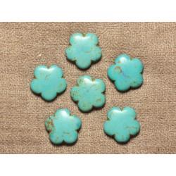 Fil 39cm 20pc env - Perles de Pierre Turquoise Synthèse Fleurs 20mm Bleu Turquoise
