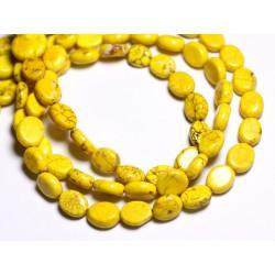 Fil 39cm 41pc env - Perles de Pierre Turquoise Synthèse Ovales 9x7mm Jaune