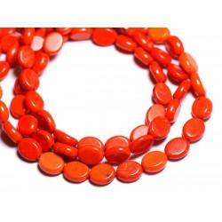 Fil 39cm 41pc env - Perles de Pierre Turquoise Synthèse Ovales 9x7mm Orange