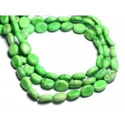 Fil 39cm 41pc env - Perles de Pierre Turquoise Synthèse Ovales 9x7mm Vert