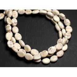 Fil 39cm 44pc env - Perles de Pierre Turquoise Synthèse Ovales 9x7mm Blanc crème