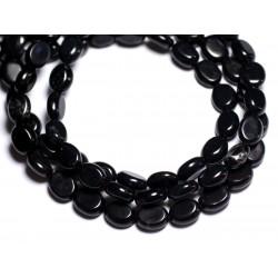 Fil 39cm 43pc env - Perles de Pierre Turquoise Synthèse Ovales 9x7mm Noir
