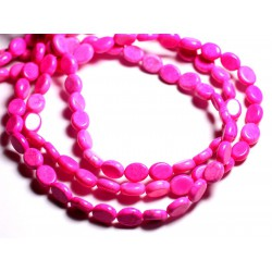 Fil 39cm 41pc env - Perles de Pierre Turquoise Synthèse Ovales 9x7mm Rose Fluo