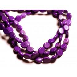 Fil 39cm 41pc env - Perles de Pierre Turquoise Synthèse Ovales 9x7mm Violet