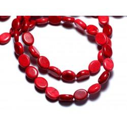 Fil 39cm 41pc env - Perles de Pierre Turquoise Synthèse Ovales 9x7mm Rouge