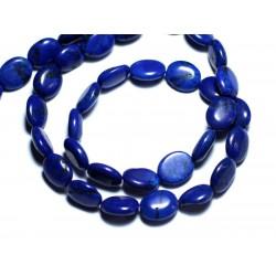Fil 39cm 41pc env - Perles de Pierre Turquoise Synthèse Ovales 9x7mm Bleu nuit