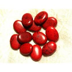 Fil 39cm 18pc env - Perles de Pierre Turquoise Synthèse Ovales 20x15mm Rouge
