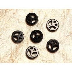 Fil 39cm 25pc env - Perles de Pierre Turquoise Synthèse Peace and Love 15mm Noir