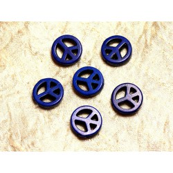 Fil 39cm 25pc env - Perles de Pierre Turquoise Synthèse Peace and Love 15mm Bleu nuit