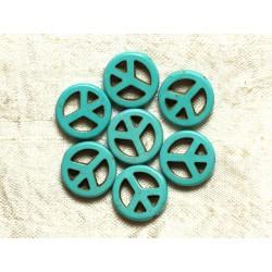 Fil 39cm 25pc env - Perles de Pierre Turquoise Synthèse Peace and Love 15mm Bleu Turquoise
