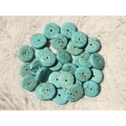 Fil 39cm 93pc env - Perles de Pierre Turquoise Synthèse Rondelles 11mm Bleu Turquoise