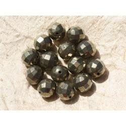 Fil 39cm 37pc env - Perles de Pierre - Pyrite Boules Facettées 10mm
