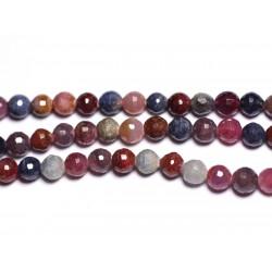 Fil 39cm 63pc env - Perles de Pierre - Rubis et Saphir Boules Facettées 6mm