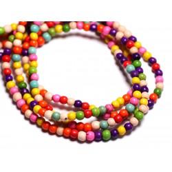 Fil 39cm 92pc env - Perles de Pierre Turquoise Synthèse Reconstituée Boules 4mm Multicolore