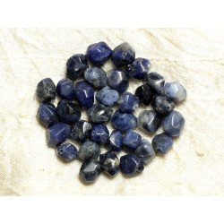 Fil 39cm 42pc env - Perles de Pierre - Sodalite Nuggets Facettés 8-10mm