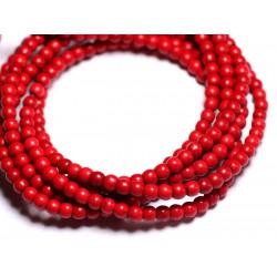 Fil 39cm 92pc env - Perles de Pierre Turquoise Synthèse Reconstituée Boules 4mm Rouge