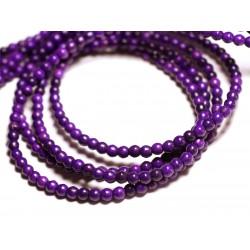 Fil 39cm 92pc env - Perles de Pierre Turquoise Synthèse Reconstituée Boules 4mm Violet