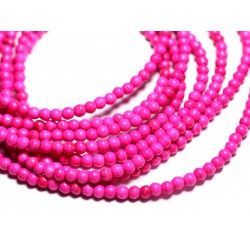 Fil 39cm 92pc env - Perles de Pierre Turquoise Synthèse Reconstituée Boules 4mm Rose Fluo