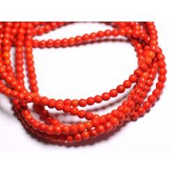 Fil 39cm 92pc env - Perles de Pierre Turquoise Synthèse Reconstituée Boules 4mm Orange