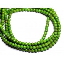 Fil 39cm 92pc env - Perles de Pierre Turquoise Synthèse Reconstituée Boules 4mm Vert
