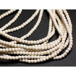 Fil 39cm 92pc env - Perles de Pierre Turquoise Synthèse Reconstituée Boules 3-4mm Blanc Crème