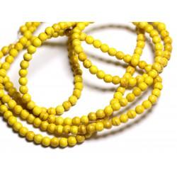 Fil 39cm 92pc env - Perles de Pierre Turquoise Synthèse Reconstituée Boules 4mm Jaune