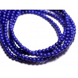 Fil 39cm 92pc env - Perles de Pierre Turquoise Synthèse Reconstituée Boules 4mm Bleu nuit