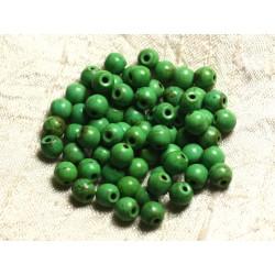 Fil 39cm 63pc env - Perles de Pierre Turquoise Synthèse Reconstituée Boules 6mm Vert