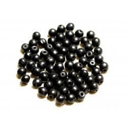 Fil 39cm 63pc env - Perles de Pierre Turquoise Synthèse Reconstituée Boules 6mm Noir