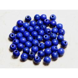 Fil 39cm 63pc env - Perles de Pierre Turquoise Synthèse Reconstituée Boules 6mm Bleu nuit