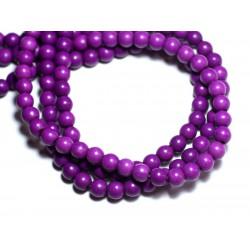 Fil 39cm 63pc env - Perles de Pierre Turquoise Synthèse Reconstituée Boules 6mm Violet