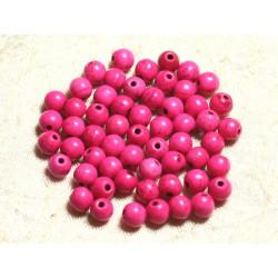 Fil 39cm 63pc env - Perles de Pierre Turquoise Synthèse Reconstituée Boules 6mm Rose Fluo
